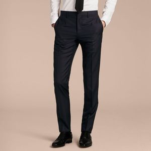 Burberry Men's Navy Slim Fit Wool Pants